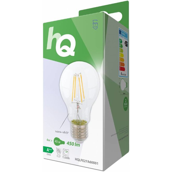 HQ E27 Retro Filament LED Lamp A60 4 W (40 W) - 2700 K
