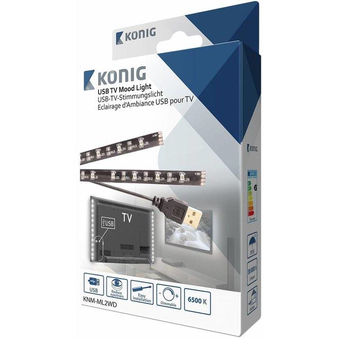 Konig USB LED TV-strip Dimbaar 2-set 45 CM - Cool White