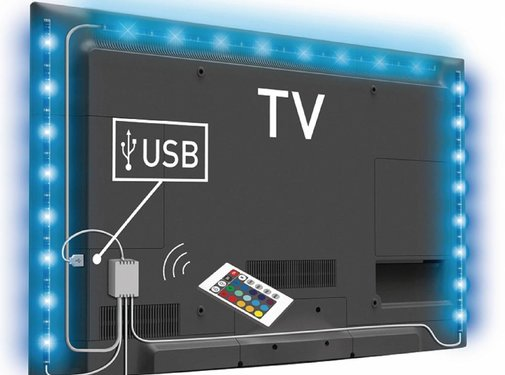 Konig Konig USB LED TV-strip Dimbaar 2 x 50 cm 1 x 90 cm - Multicolour