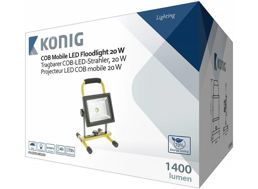 Konig Mobiele COB LED-bouwlamp 20 W - Zwart / Geel
