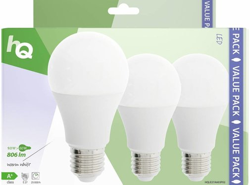 HQ HQ E27 A60 LED Lamp 3-pack 9W (60W) - 2700 K