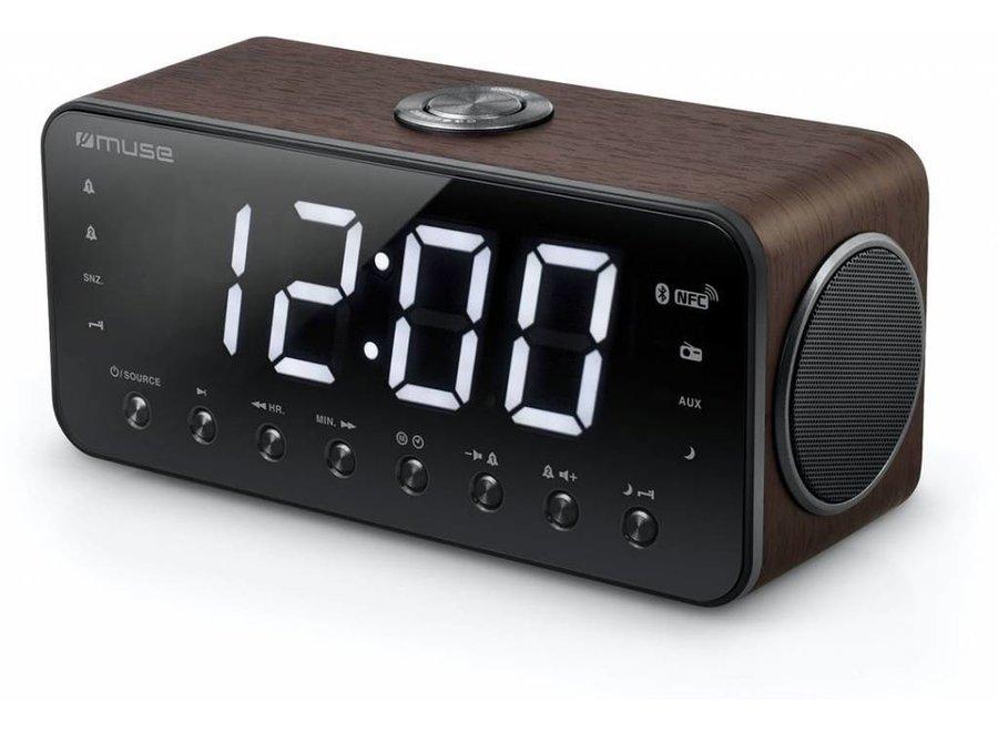 Muse M-196 DWT Wekkerradio met Groot Display - Donkerbruin