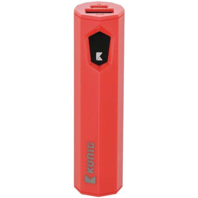 Konig LED Powerbank 2500 mAh USB - Rood