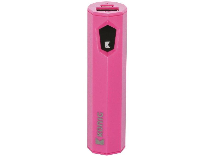 Konig LED Powerbank 2500 mAh USB - Roze