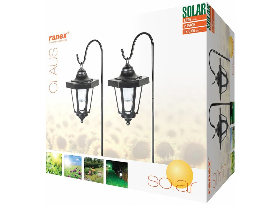 Ranex Claus Solar LED Lantaarn op Spies 2-pack