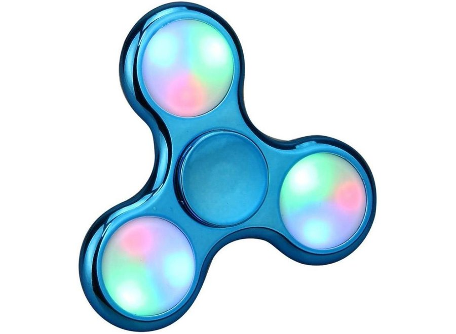 LED Fidget Hand Spinner - Chroom Blauw