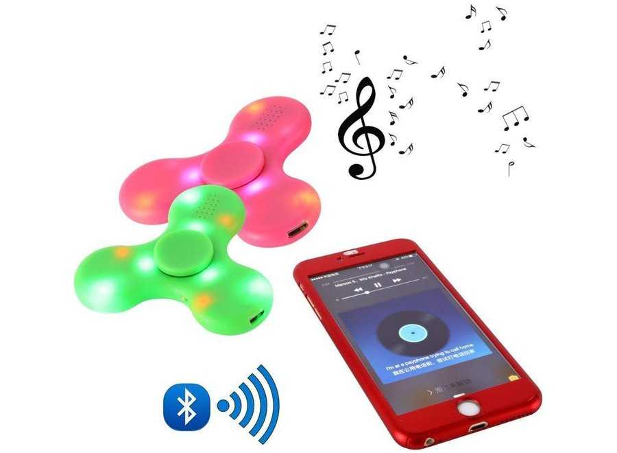Bluetooth LED Speaker Fidget Hand Spinner - Mat Blauw