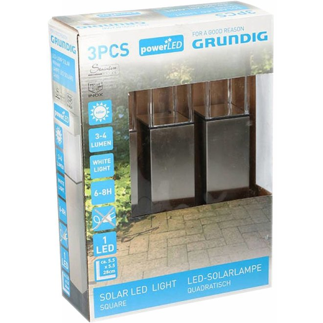 Grundig Solar LED Tuinlamp 3-pack