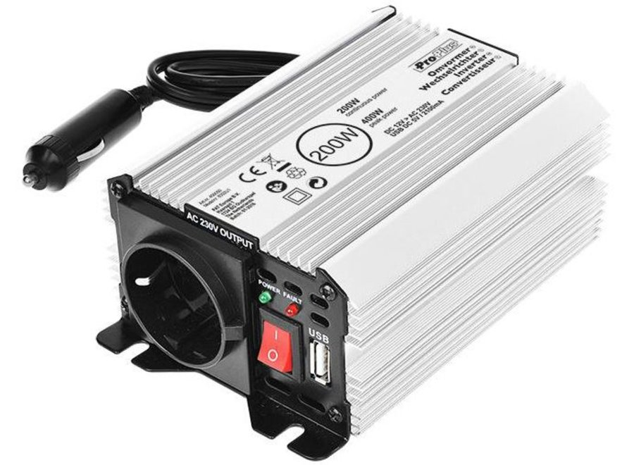 ProPlus Omvormer 12-230V met USB - 200 W/400 W