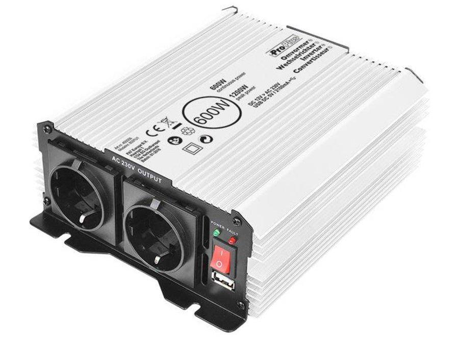 ProPlus Omvormer 12-230V met USB - 600 W/1200 W