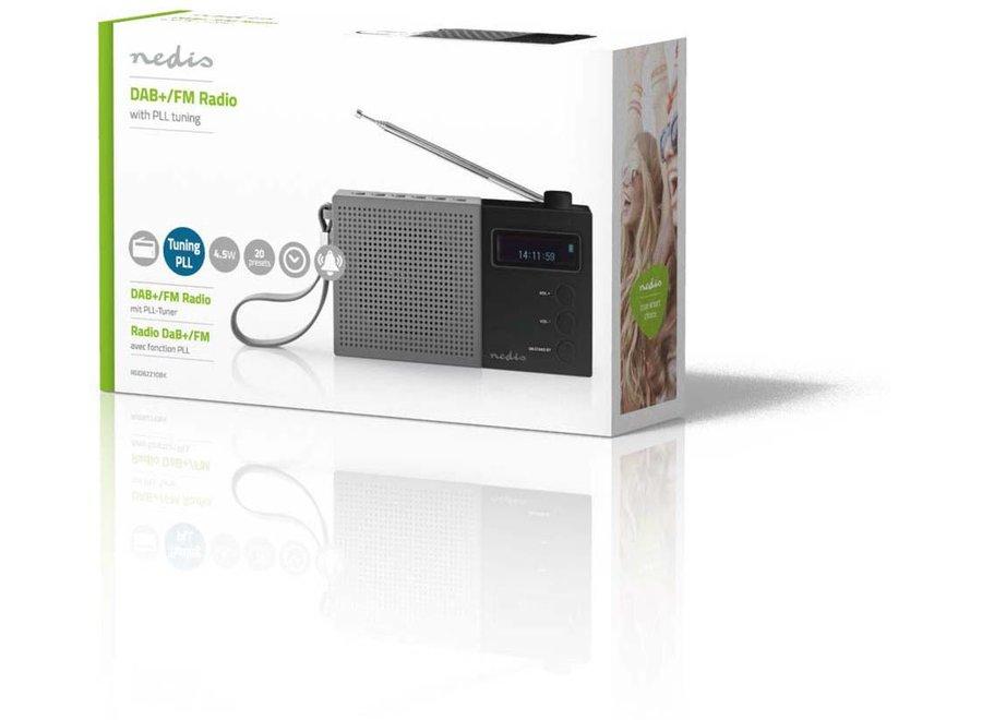 Nedis DAB+ Radio met Klok & Alarm - 4,5 W - Grijs/zwart