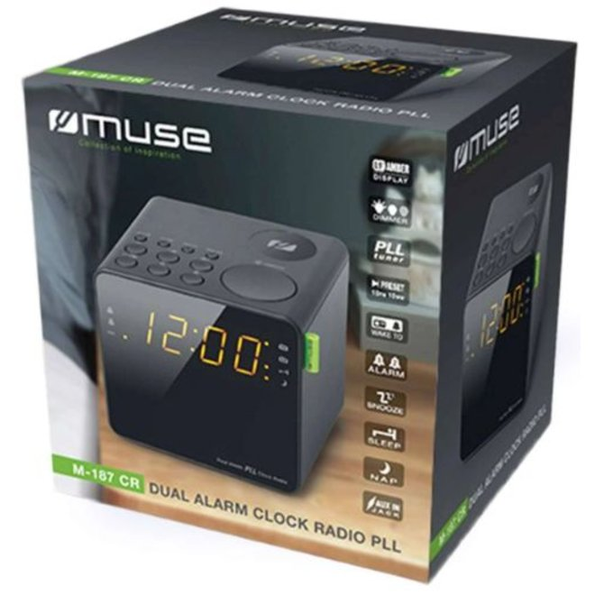 Muse M-187 CR LED Wekkerradio - Zwart