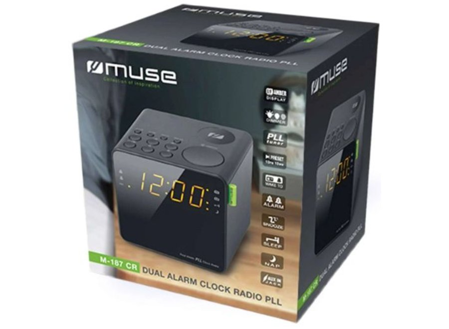 Muse M-187 CR LED Wekkerradio - Zwart