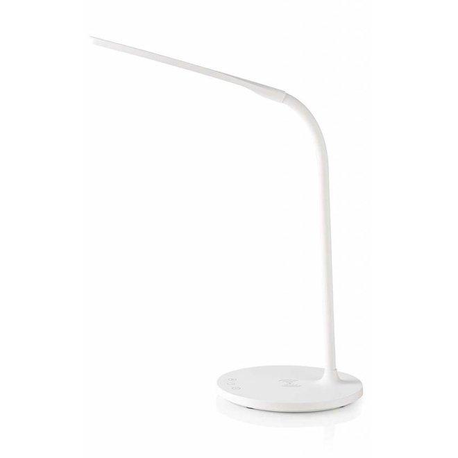 Nedis LTLGQ3M1WT Touch LED Tafellamp met Draadloze Qi Oplader - Wit