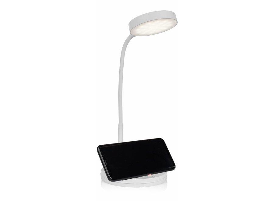 Smartwares IDE-60039 LED Tafellamp met Draadloze Qi Oplader - Wit