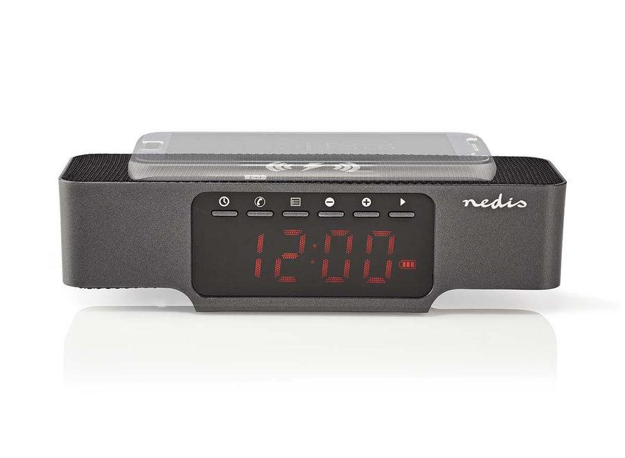 Nedis CLAR007BK Digitale LED Wekkerradio met Draadloze Oplader