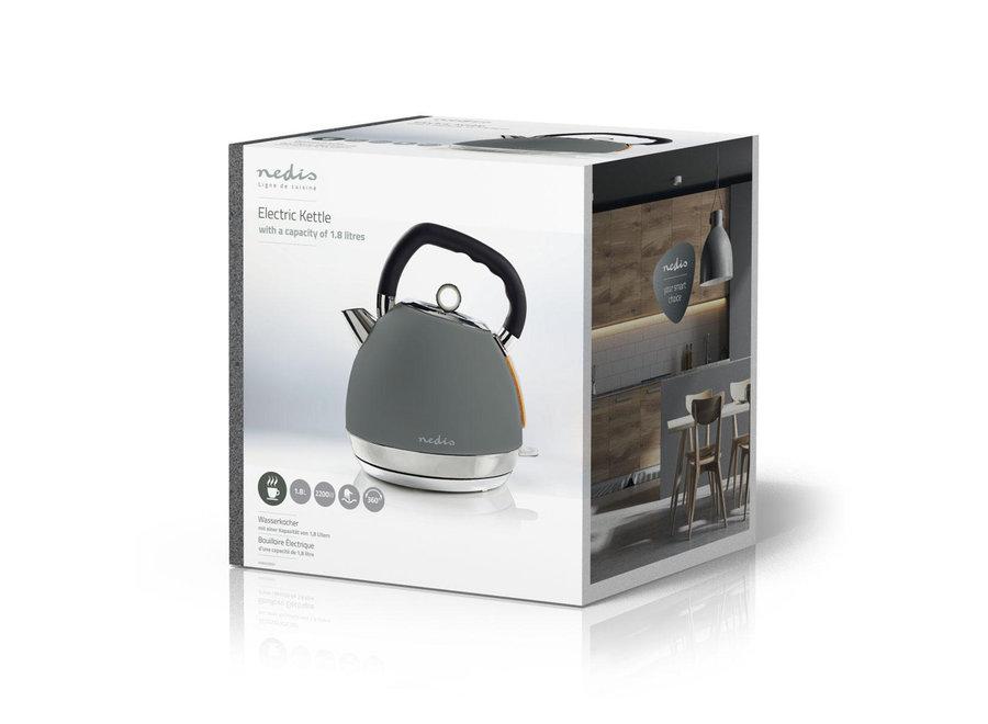 Nedis KAWK520EGY Elektrische Waterkoker Soft-touch 1,8L - Grijs