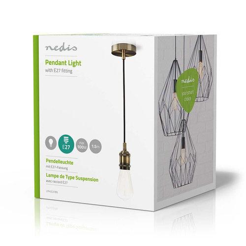 Nedis Nedis LPHLE27BS Hanglamp E27 - Messing