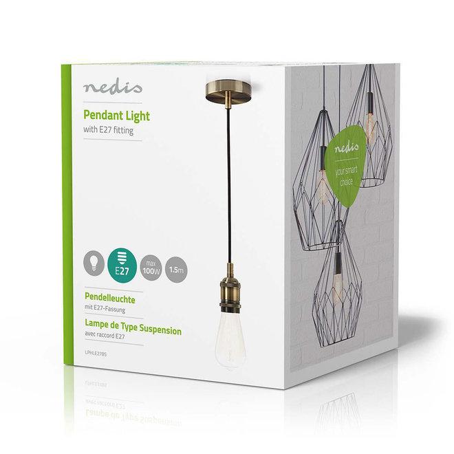 Nedis LPHLE27BS Hanglamp E27 - Messing