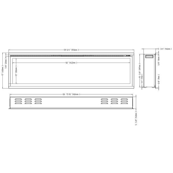 Aflamo Royal 60 LED Inbouwhaard Elektrische - 152cm