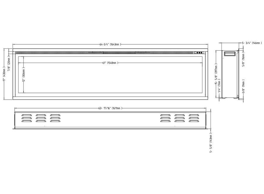 Aflamo Royal 65 LED Inbouwhaard Elektrische - 165cm