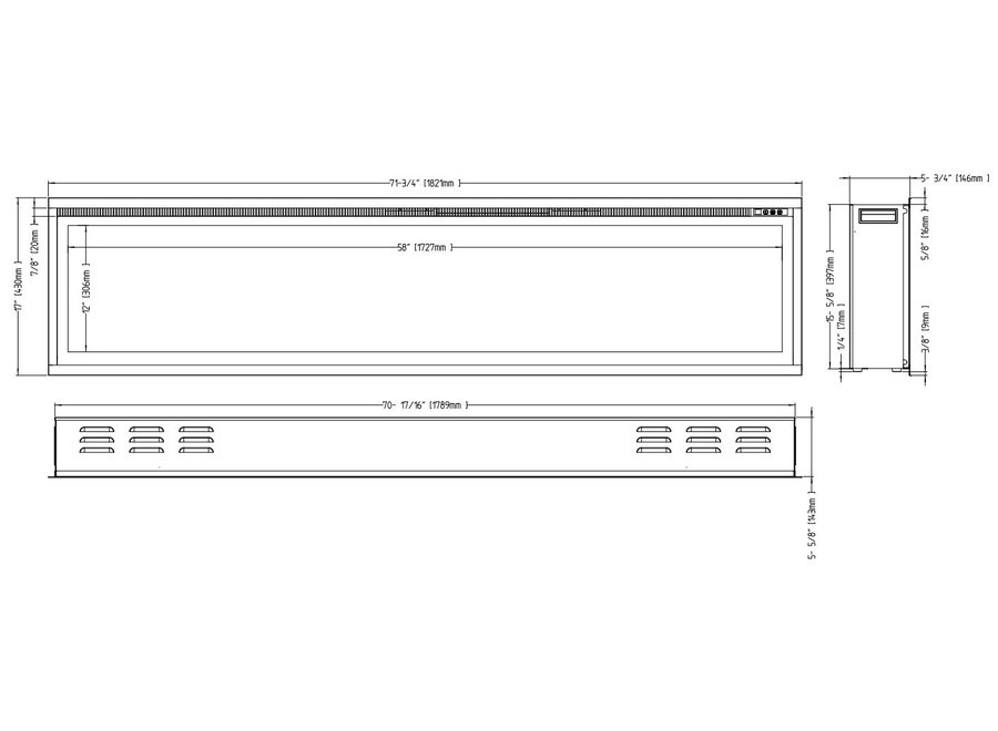 Aflamo Royal 72 LED Inbouwhaard Elektrische - 182cm