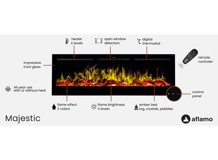 Aflamo Majestic 26 Zwart LED Inbouwhaard Elektrische - 66cm