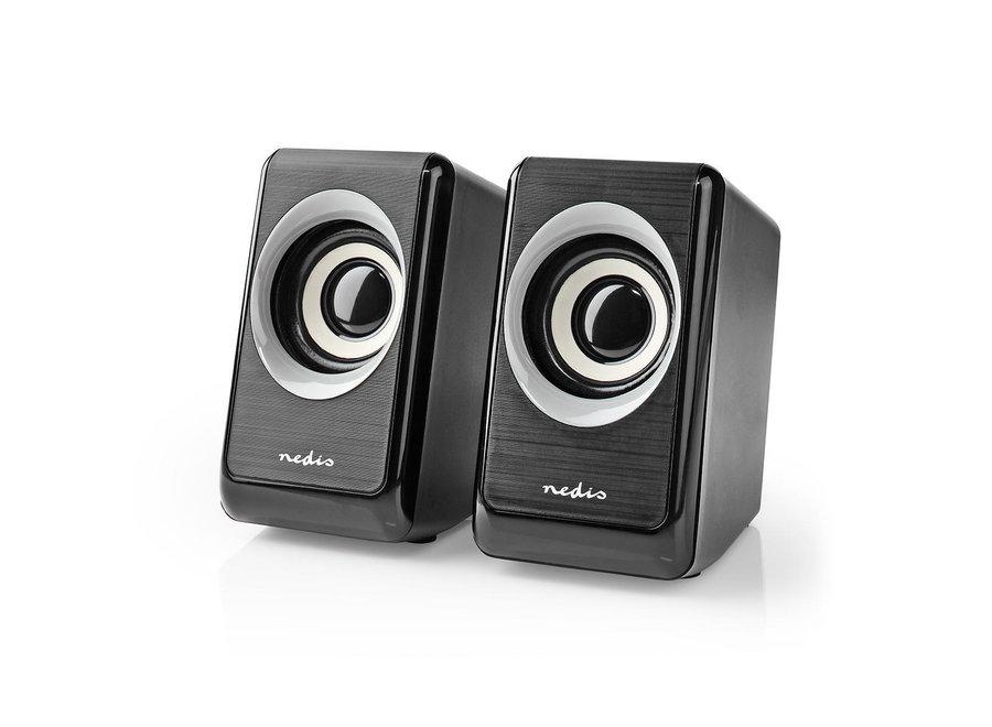 Nedis CSPR20020BK PC-luidspreker (18W, 2.0 stereo, 3,5mm jack)