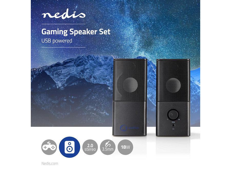 Nedis GSPR10020BK PC-luidspreker (18W, Gaming, 3,5mm jack)