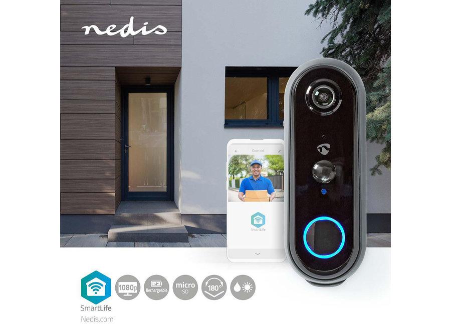 Nedis SmartLife WIFICDP20GY Videodeurbel (Wifi, Full HD 1080p, Accu)