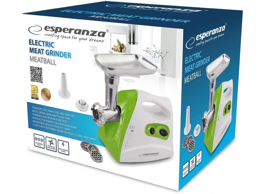 Esperanza EKM012G Elektrische Vleesmolen 3-in-1 (Groen, 600W, RVS)