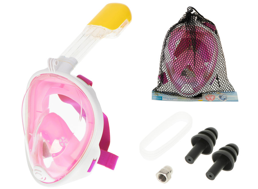 Full Face Mask met Snorkelmasker (Roze, GoPro houder)