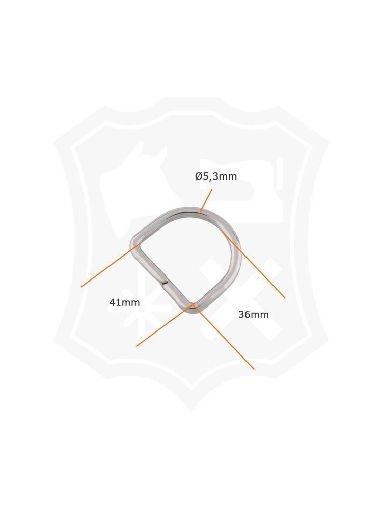 D-Ring, nikkelkleurig, binnenmaat 41mm (10 stuks)