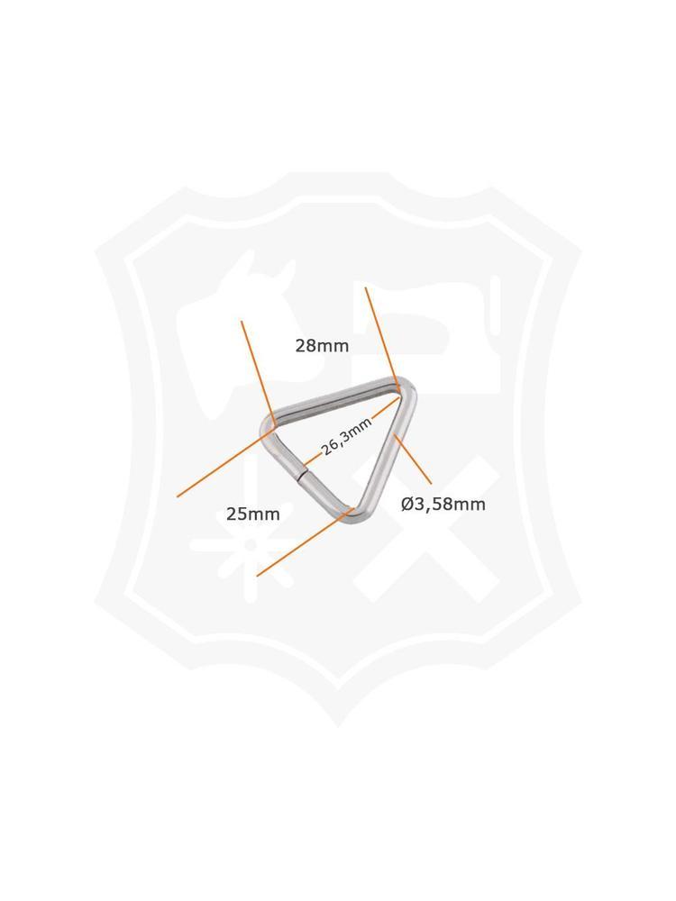 Driehoekige Ring, nikkelkleurig, binnenmaat 25mm (10 stuks)