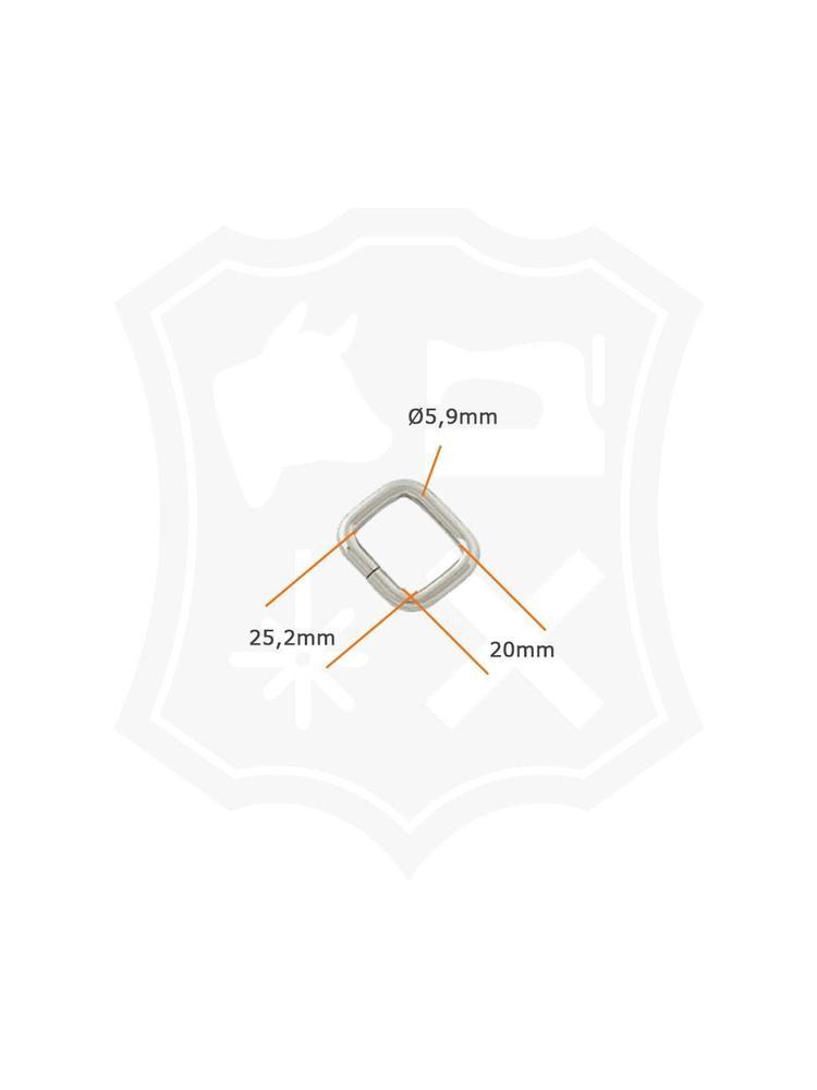 Rechthoekige Ring, nikkelkleurig, binnenmaat 25.2mm (4 stuks)