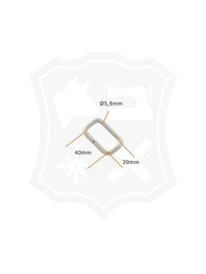Rechthoekige Ring, nikkelkleurig, binnenmaat 40mm (4 stuks)