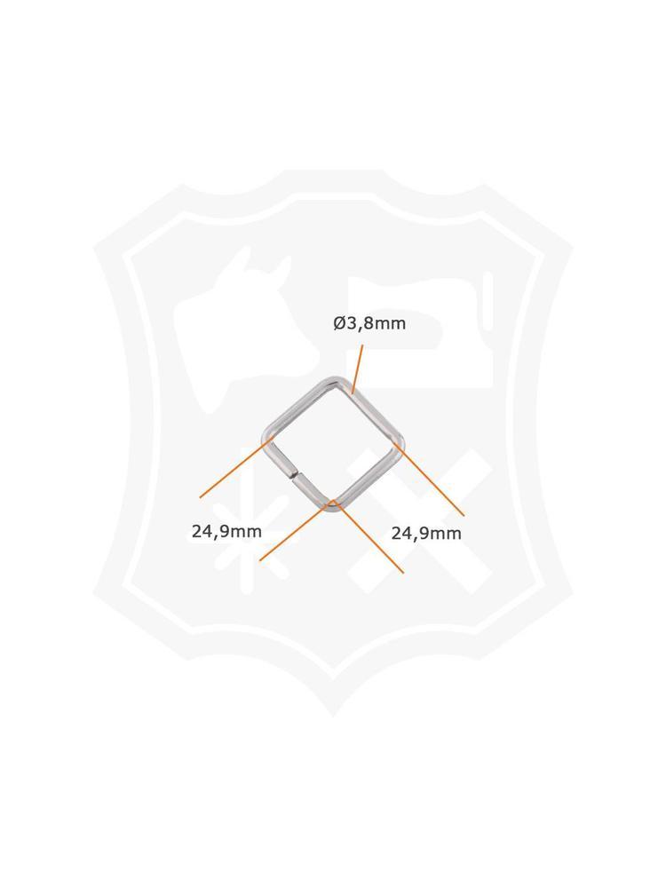 Vierkante Ring, nikkelkleurig, binnenmaat 24,9 mm (6 stuks)