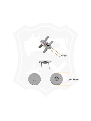 Rond Magneetslot, extra dun, nikkelkleurig, diameter 14,5mm (3 stuks)