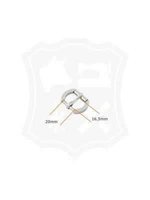 Ovale Gesp, nikkelkleurig, binnenmaat 20mm