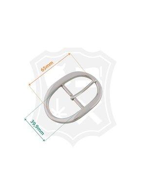 Luxe Ovale Gesp, nikkelkleurig, binnenmaat 39,9mm