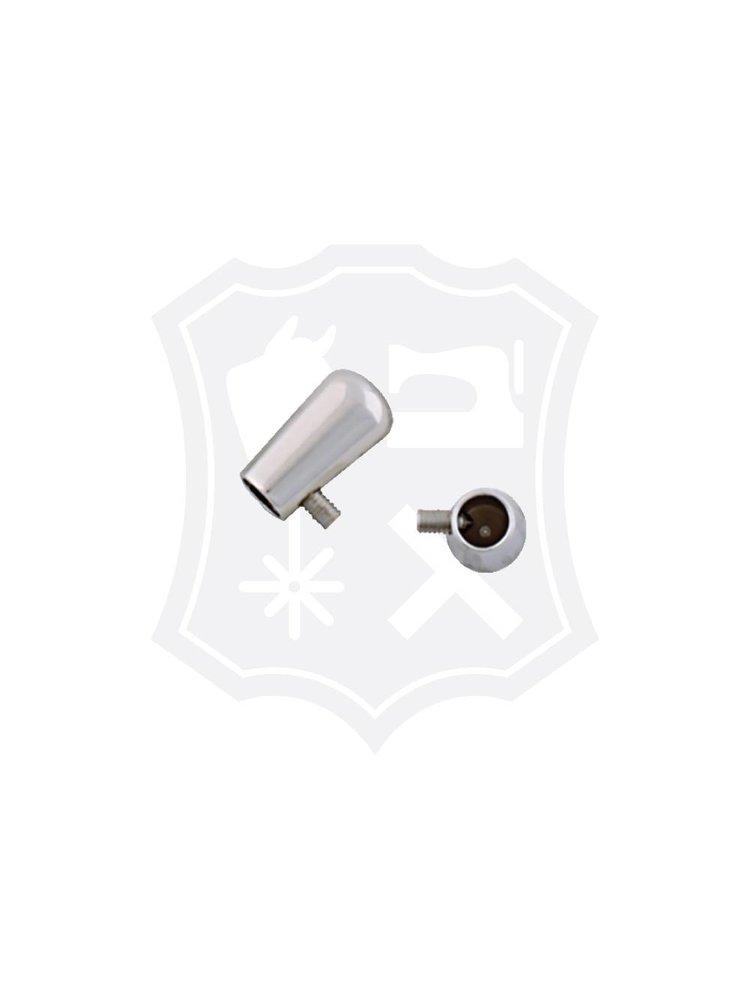 Eindkap, schroef, nikkelkleurig, binnenmaat 4,8mm, lengte 16mm (2 stuks)