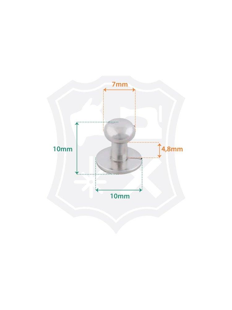 Geweerknop, nikkelkleurig, kop 7mm (20 stuks)