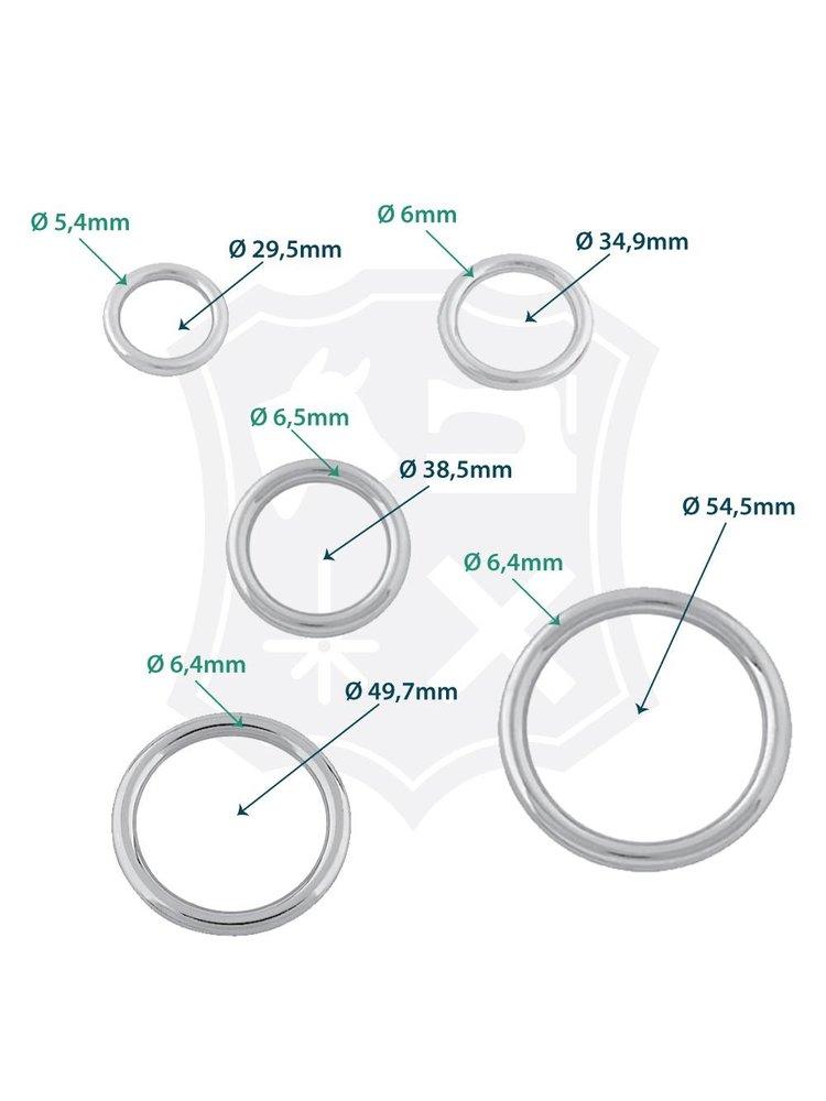 Ronde Ring, nikkelkleurig, diverse maten (2 stuks)
