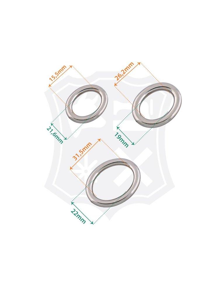 Ovale Ring, nikkelkleurig, diverse maten (2 stuks)