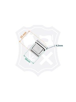 Tic-Tuc Slot, nikkelkleurig, 30mm x 35mm, tussenmaat 4,5mm