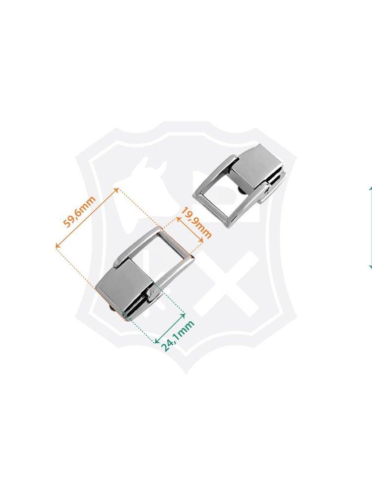 Luxe Tashengsel Bevestiging, uitschuifbaar, nikkelkleurig, binnenmaat 19,9mm (2 stuks)