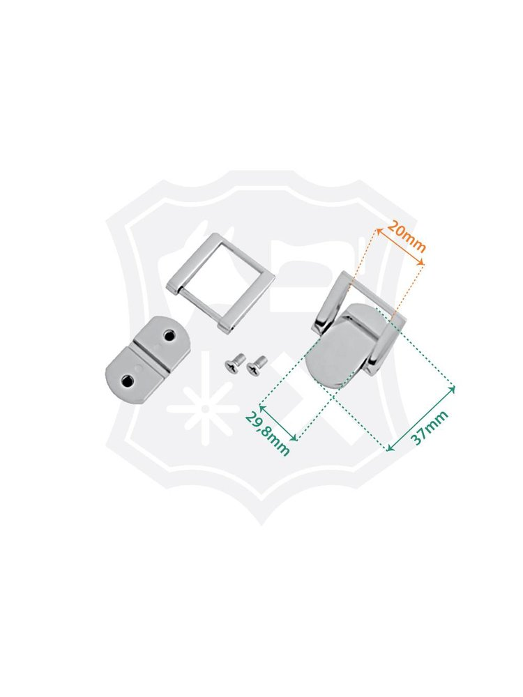 Luxe Tashengsel Bevestiging, nikkelkleurig, binnenmaat 20mm (2 stuks)