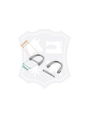 D-Vormige Tashengsel Bevestiging, demontabel, nikkelkleurig, binnenmaat 10mm (4 stuks)