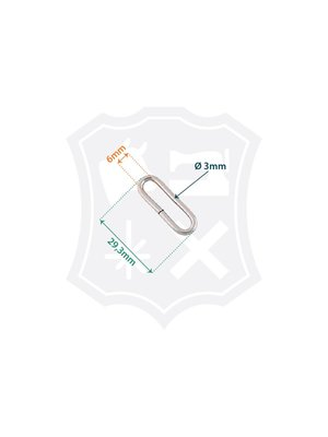 Ovale Ring, nikkelkleurig, binnenmaat 29,3mm, dikte 3mm (25 stuks)