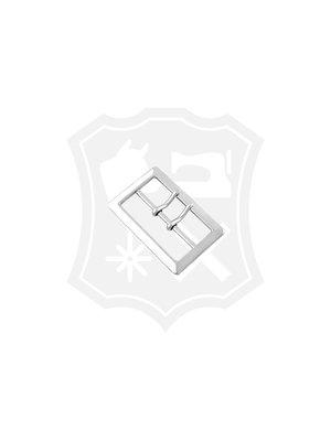 Rechthoekige Gesp, dubbele pin, nikkelkleurig, binnenmaat 59mm